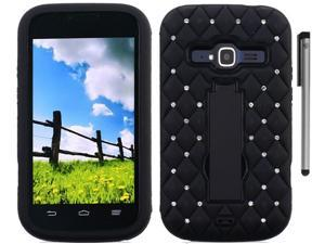 For ZTE Concord 2 Z730 Rugged Heavy Duty Studded Diamond Design Armor Kickstand Phone Protector Cover Case Accessory with Stylus Pen