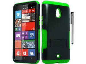 For Nokia Lumia 1320 Infuse Design Duo Layer Hybrid Armor Kickstand Phone Protector Cover Case Accessory with Stylus Pen