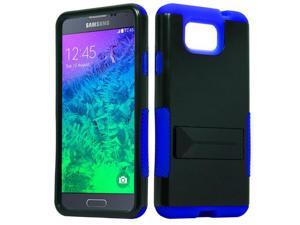 for Samsung Galaxy Alpha G850 Hybrid Infuse Stand Cover Case. Black Blue