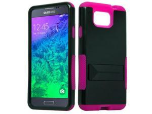 for Samsung Galaxy Alpha G850 Hybrid Infuse Stand Cover Case. Black Pink