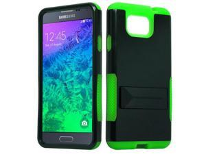 for Samsung Galaxy Alpha G850 Hybrid Infuse Stand Cover Case. Black Green