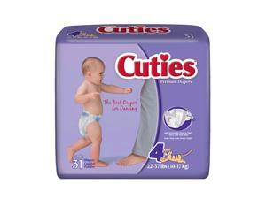 Cuties CR4001 Size 4 Baby Diapers 124/Case