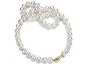 """14k Yellow Gold 7.5-8mm White Hand-pick Genuine Japanese Saltwater Akoya Pearl High Luster Necklace 18"""" Length, AAA Quality."""