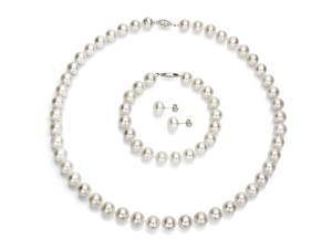 "La Regis Jewelry Sterling Silver 9-10mm White Freshwater Pearl 18"" Necklace, 7"" Bracelet and Stud Earring Set"