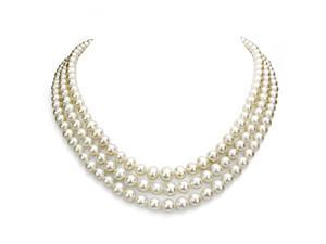 """Sterling Silver 4-9mm White Freshwater Pearl Graduated 3 Row Choker Necklace 16-18"""""""