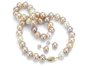 "14k Yellow Gold 10-11mm Multi Pink Cultured Freshwater Pearl High Luster Necklace 18"" and a Matching Stud Earring Set"