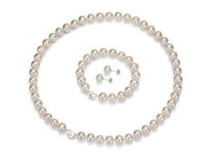 "Heart Shape ""Love"" Sterling Silver 6-7mm Freshwater Cultured White Pearl Necklace 18"" Length, Matching 7"" Bracelet & Earring Sets"