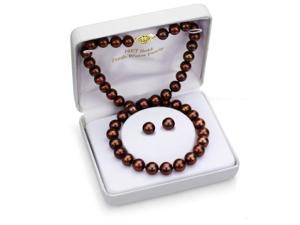 14k Yellow Gold 10-11mm Chocolate Cultured Freshwater Pearl High Luster Neckl...