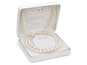 "Sterling Silver 4-9mm White Freshwater Pearl Graduated 2 Row Necklace 18"" with 7-8mm Stud Earring Set"