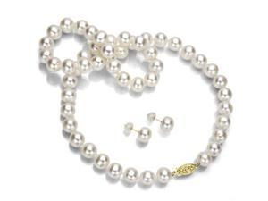 "14k Yellow Gold 8-9mm White Genuine Cultured Freshwater Pearl Necklace 20"" and Stud Earring Jewelry Set."