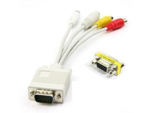 Komingo Dispatch VGA to S-video Cable +3 RCA Cable+1 Vga/svga Female to Female(f-f) Mini Gender Changer(US Stock 4-6 Business Days Delivered)