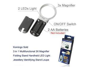 Komingo Sold 3 in 1 Multifunctional 3X Magnifier Folding Stand Handheld LED Light Jewellery Identifying Loupe Magnifier (3 In 1Multi-3X) US Stock 4-6 Business Days Delivered