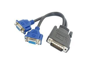 Komingo Sold 8.5 Inch Length DMS-59 Pin Male to Dual VGA HD15 Female Y Splitter Cable