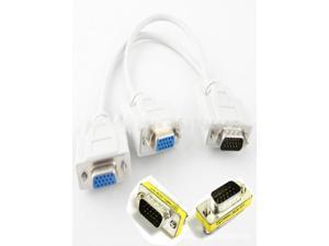 VGA Gold 1 Male to 2 Female Video Splitter Cable+15 Hd/db/15 Vga/svga F-f/m-m Mini Gender Changer 3 Pc Set US Stock