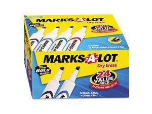 Desk Style Dry Erase Marker Chisel Tip Assorted 24/Pack