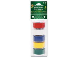 "Electrical Tape, 3/4"" x 12 ft, 1"" Core, Assorted, 5/Pack DUC280303"