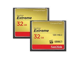 32GB Extreme Compact Flash Memory Cards - 2 Pack - Transfer speed up to 120MB/s