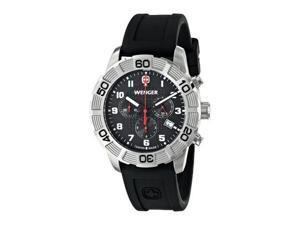 Wenger Roadster Chrono Swiss Quartz Men's Watch, Silicone Strap, Black