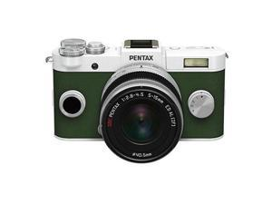 PENTAX Q-S1 Mirrorless Digital Camera w/5-15mm Lens - Pure White/Khaki Green