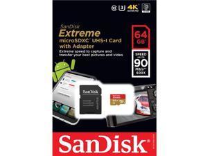 SanDisk Extreme 64GB microSDXC Flash Memory Model SDSQXNE-064G-AN6MA