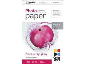 "Colorway Premium High Glossy Photo Paper, 255g/m2, 4x6"", 20 Sheets #PSG2550204R"