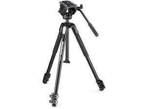 Manfrotto MVH500AH Fluid Video Head with MT190X3 Aluminum 3-Section Tripod