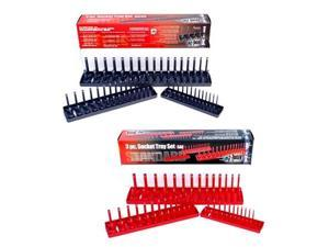 Hansen 6pc Socket Organizer Tray Rack Holder Metric SAE 1/4 3/8 1/2 in. Made in USA