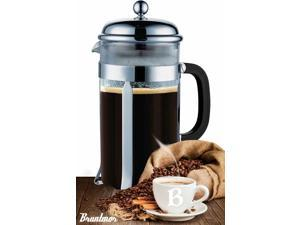 Bruntmor, 8 Cup (34 Oz) French Coffee Press with 3 Bonus Screens, Stainless Steel Plunger & Borosilicate Heat Resistant Glass