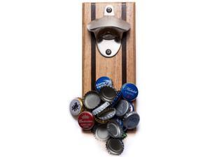 Bruntmor CAPMAGS Strong Magnetic w/ Zinc Alloy Beer Opener & Cap Catcher - Rubberwood Hand Painted