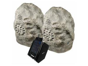 Audio Unlimited 900MHz Wireless Indoor/Outdoor Rock Speaker Bundle (Rechargeable) with Dual Power Transmitter - Granite