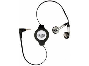 CABLES UNLIMITED ZIP-AUDIO-CD6-2pk Retractable 2.5Mm Black Earbuds Bulk 1.5 Meter Black - BUNDLE of 2