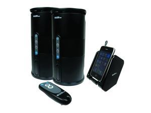 Nexhi AU-SPK-VELO-003 Premium 900MHZ Wireless Indoor/Outdoor 2-Speaker System with Remote and Dual Power Transmitter - Black