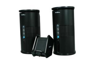 Nexhi AU-SPK-VELO-003 Premium 900MHZ Wireless Indoor/Outdoor 2-Speaker System and Dual Power Transmitter - Black