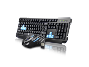 CORN Black & Blue Multimedia Gaming Keyboard & Mouse With USB RF 2.4GHz Wireless HTPC, Anti-Ghosting Feature, Water-Proof Design, Mute Effect and Mechanical Feel Design, Fully Compatible
