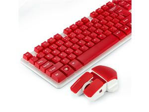 CORN 2.4GHz Wireless Mechanical Gaming Keyboard & Mouse With Unique Ergonomic Design, Suspension Buttons, 19 Keys Anti-Ghosting Feature, and Long Standby Technology - Red