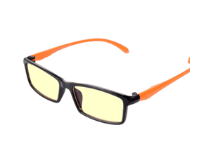 CORN Optiks YJ-2 Full Rim Advanced Video Gaming Eyewear Glasses with Headset Compatibility and Amber Lens Tint, flexible Beta Memory Polymer. (Orange)