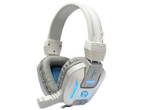 CORN Comfortable LED 3.5mm Stereo Gaming LED Lighting Over-Ear Headphone Headset Headband with Mic for PC Computer Game With Noise Cancelling & Volume Control (Grey&Blue)