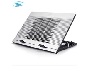 "DEEPCOOL N9 Silver Laptop Cooling Pad 17"" Pure Aluminium Extrution Panel 180mm Fan Multi Viewing Angles Adjustable 4 USB Ports"