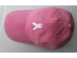 Pink Breast Cancer Awareness Hat White Ribbon
