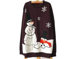 Shineflow Women's Unisex Happy Snowman Ugly Christmas Sweater Plus Size Jumper