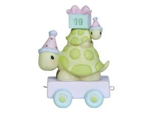 """Precious Moments, Birthday Gifts, """"Take Your Time It's Your Birthday"""", Birthday Train Age 11, Bisque Porcelain Figurine,"""
