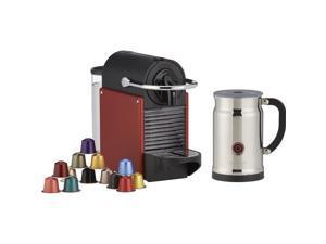Nespresso D60 Pixie Carmine Espresso Machine With Aeroccino Plus Milk Frother