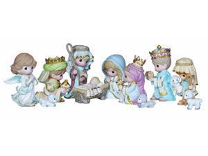 "Precious Moments, Christmas Gifts, ""Come Let Us Adore Him"", 11 Piece Set, Mini Bisque Porcelain Figurines, #131064"
