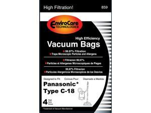 Panasonic Type C-18 Micro-Allergen Cloth Bags 4-Pack, Compare with Panasonic Part# AMC-J3EP Canister Replacement Bag for