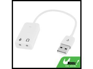 3.5mm Microphone Earphone Socket USB 2.0 Sound Card Speaker Audio Adapter White
