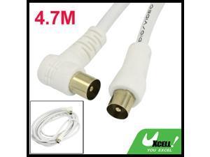 White 4.7M PAL M/M Audio Video Amplifier Aux Extension Single TV Cable Wire