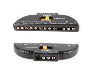 4-Way Audio Video AV RCA Switch Game Selector Box Splitter Black w 1M AV Cable