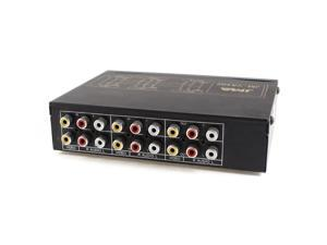 Black 4 In 2 Out 3 RCA Audio Video Distribution Amplifier AV Splitter Switch Box