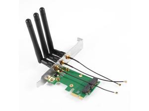 Mini PCI-E to PCI-Express Wireless WiFi Card Adapter Converter w 3 Antenna