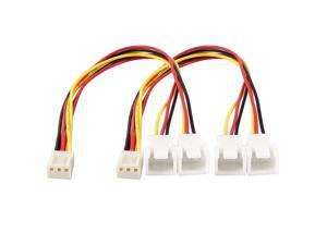 2 Pcs 3 Wire 3 Pin Female to Double Male PC Fan Y Splitter Extension Cable 20cm